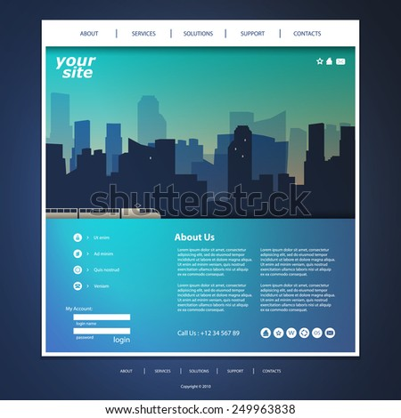One Page Website Template with City Silhouette in the Header Background Design - stock vector