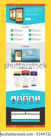 One Page Website Vector Design Template in Flat Style - stock vector