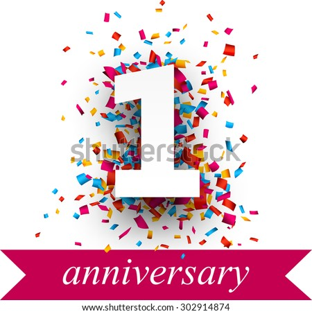 One paper sign over confetti. Vector holiday anniversary illustration.  - stock vector