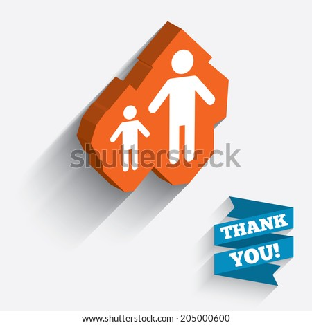 One-parent family with one child sign icon. Father with son symbol. White icon on orange 3D piece of wall. Carved in stone with long flat shadow. Vector - stock vector