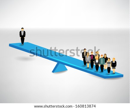 One people versus many people conceptual vector design - stock vector