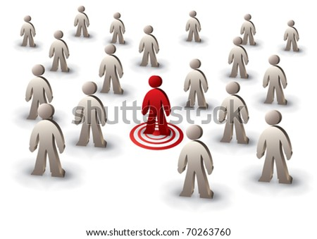 one person targeted among the crowd - stock vector