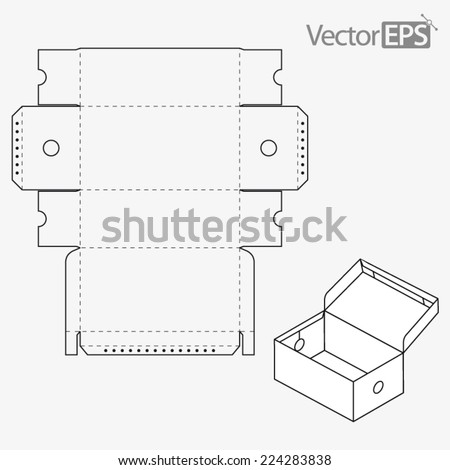One piece tray and lid with viewing hole. Shoebox. - stock vector