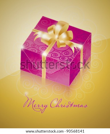 One purple gift box with gold ribbon - stock vector