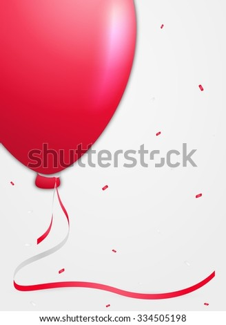 one red balloon and falling confetti on gray gradient background - stock vector