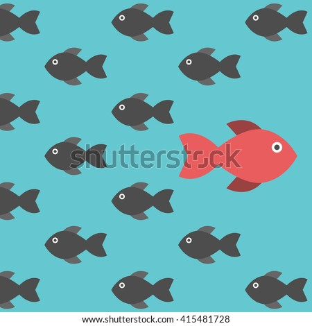 One red unique different fish swimming opposite way of identical black ones. Courage, confidence, success, crowd and creativity concept. EPS 8 vector illustration, no transparency - stock vector