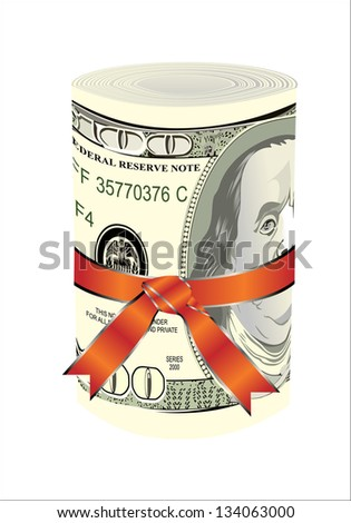 One roll from dollars in a red ribbon with a gift bow. - stock vector