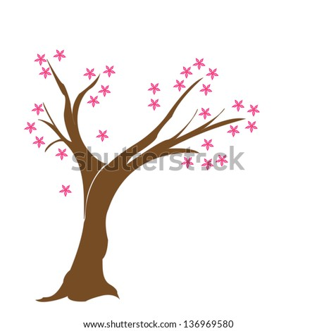 one single tree with blossom pink flowers/tree