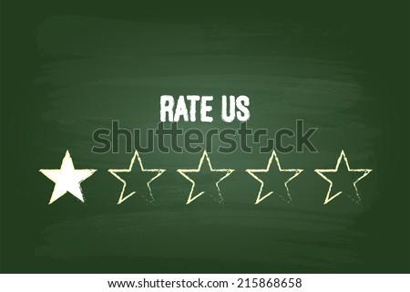 One Star Feedback Rate Us On Green Blackboard - stock vector