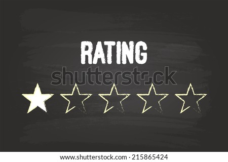 One Star Rating On Blackboard With White Chalk - stock vector