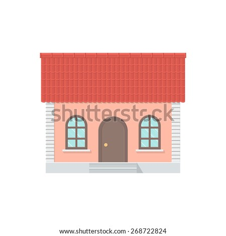One-storey House with a Tiled Roof, Front View. Detailed Illustration with Shadows Isolated on White Background - stock vector