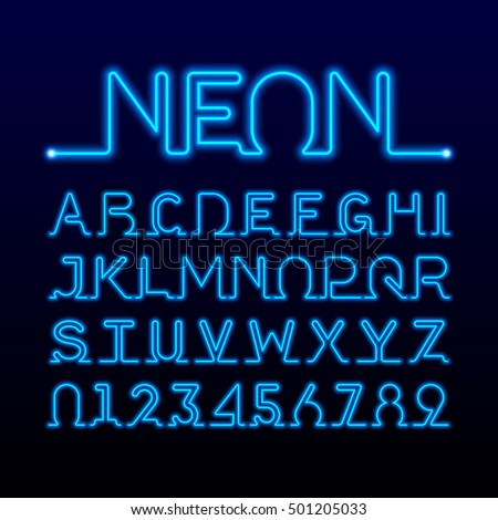 One thin line neon tube font. Alphabet and numbers. Vector.