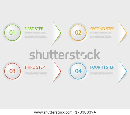 One two three four - colorful flat vector progress icons for four steps - stock vector