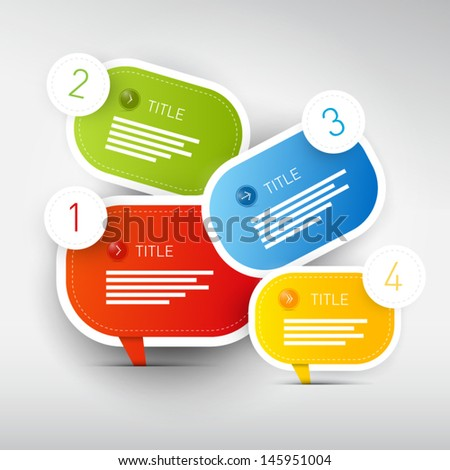 One, two, three, four, colorful vector paper progress steps for tutorial, infographics - stock vector