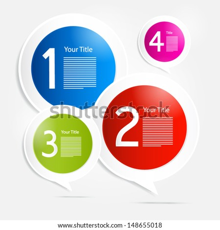 One, two, three, four, colorful vector paper progress steps for tutorial - infographics