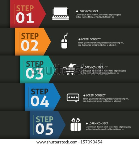 One two three four five- vector paper progress steps for tutorial - stock vector