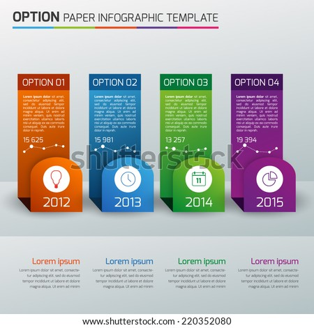 One,two,three,four - option business info graphic,light, multicolor - stock vector