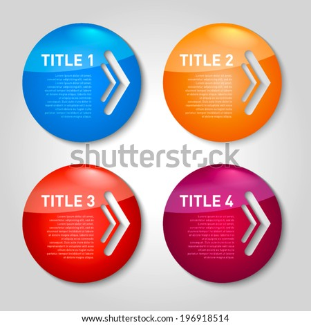 One two three four - vector progress circle icons for four steps with arrows - stock vector