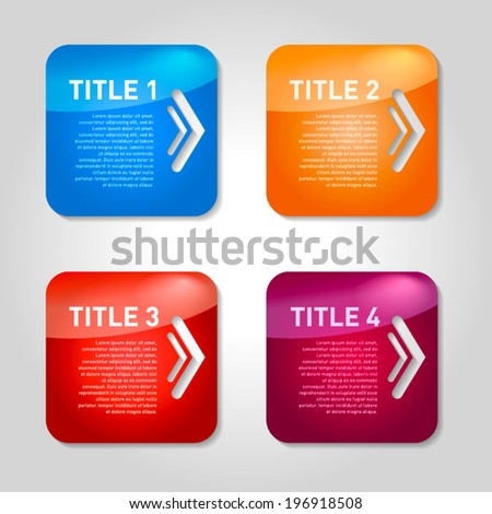 One two three four - vector progress square icons for four steps with arrows - stock vector