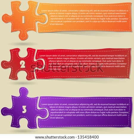One Two Three, Progress Jigsaw Puzzle Icons Banner for Three Steps, For Business and Technology Concept, Vector Illustration EPS 10. - stock vector