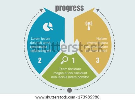 one two three progress steps - stock vector