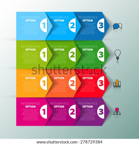 One two three, Set of three version, infographics vector paper progress steps for tutorial - stock vector