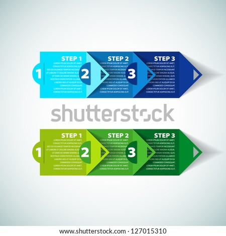 One two three - two variation - vector paper progress steps for tutorial - stock vector