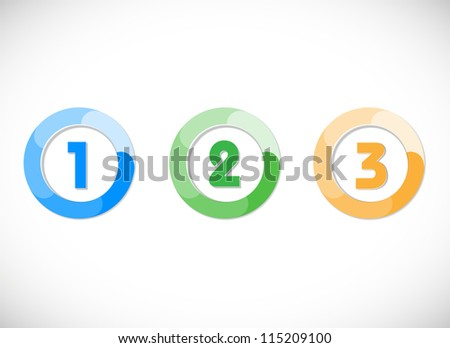 One, two, three vector button. Product choice or versions - stock vector