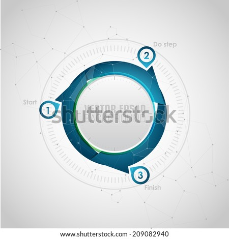 One two three  - vector paper progress steps for business presentations. Cyclical process. Teamwork. Web design template. Abstract Colorful Background - stock vector