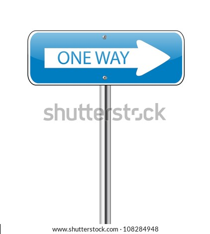 One way traffic sign on white - stock vector