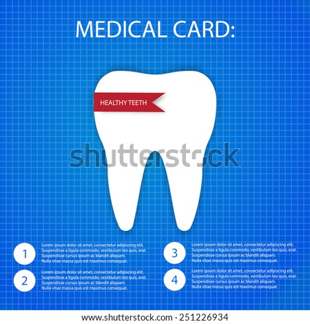 one white tooth on the blueprint paper - stock vector