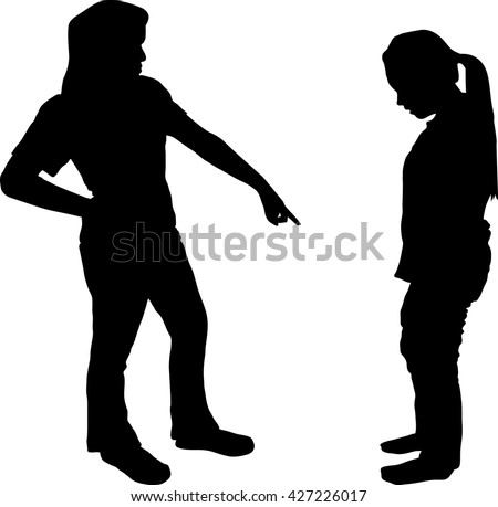 One woman and teenager girl dispute conflict in silhouette indoors isolated on white background, Couple relationship difficulty