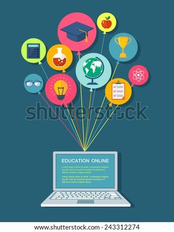 Onlike education flat illustration. Eps10 - stock vector