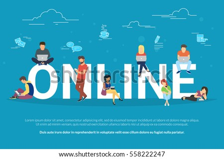 Online addiction concept illustration of young people using mobile gadgets such as smarthone and laptop for social networking. Flat design of guys and young women on letters with social media symbols