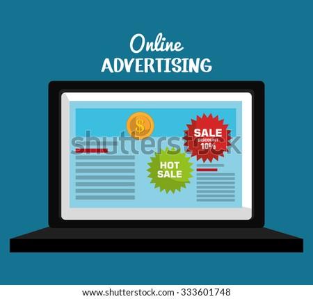 Online advertising and digital marketing, vector illustration eps10. - stock vector