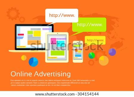 Online Advertising Digital Device Internet Web Flat Vector Illustration - stock vector