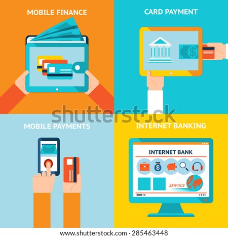 Online banking and mobile banking. Internet business, technology and finance, bank and payment, vector illustration - stock vector