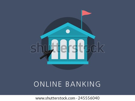 online banking concept flat icon - stock vector