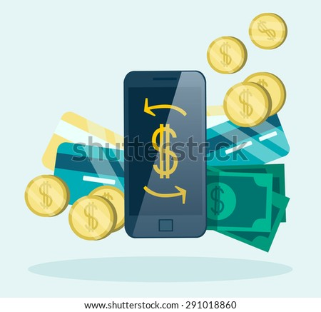 Online Banking concept. Money, mobile and Credit Card. Flat design. - stock vector