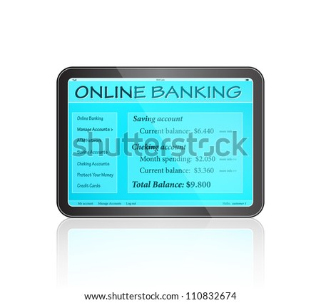 Online Banking on Touch Screen. Vector Icon