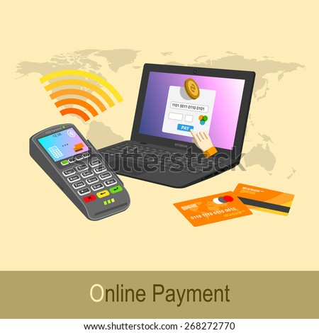 Online banking. Sending money to bank with computer and pos terminal
