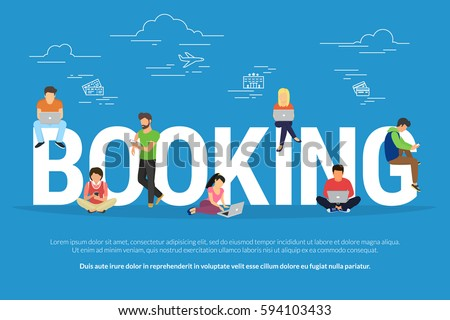 Online booking vector illustration of young men and women using devices such as laptop, smartphone, tablets to order hotel and tickets for traveling. Flat people with gadgets sitting on big letters