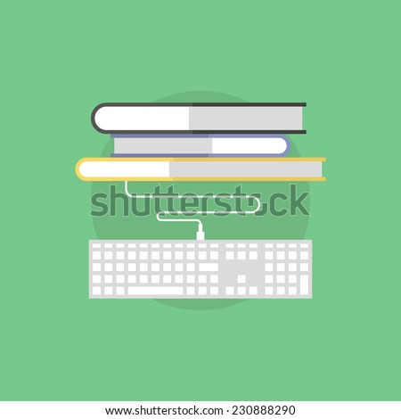 Online bookstore service, internet library access connection, electronic literature studying. Flat icon modern design style vector illustration concept.  - stock vector