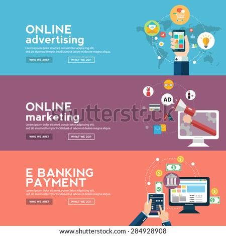 Online business banners set with advertising , marketing and e banking payment in flat style - stock vector