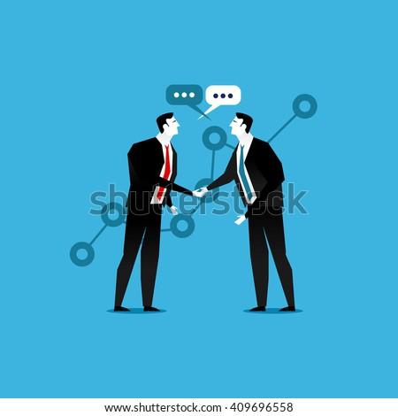 Online business deal. Business deal handshake. Cooperation or partnership.  - stock vector