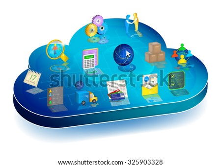 Online business process managing in cloud application.Concept. Icons: Accounting, Inventory, Client Relationships, Electronic Document Interchange, Banking, Logistics, Scheduler, Personnel Management. - stock vector