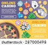 Online casino flat illustration concepts set. Flat design concepts for web banners, web sites, printed materials, infographics. Creative vector illustration - stock vector