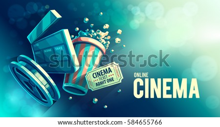 online cinema art movie watching popcorn stock vector royalty free