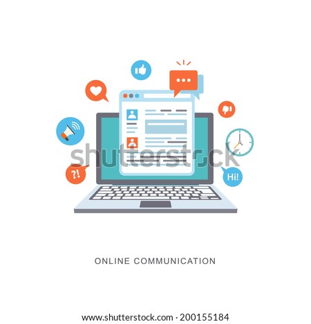 Online communication flat illustration with icons. eps8 - stock vector