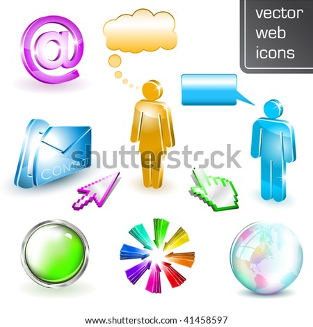 Online Communication - Shiny 3D web elements - stock vector